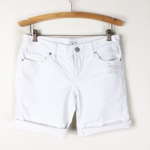 Loft cut off distressed white denim shorts Bermuda